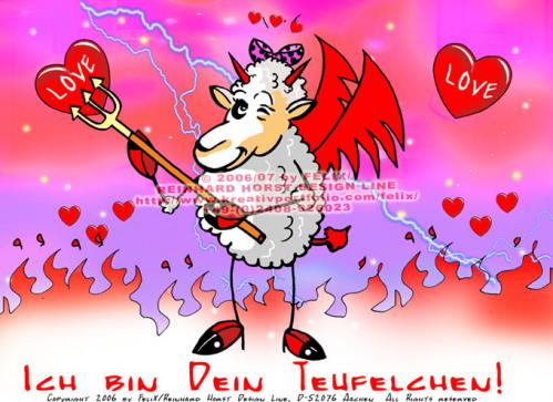Cartoon: Sheep in Love (medium) by FeliXfromAC tagged felix,alias,reinhard,horst,aachen,stockart,sheeps,in,love,schaf,schafe,cartoon,handy,mobile,services,liebe,funny,tiere,animals,devil,teufel