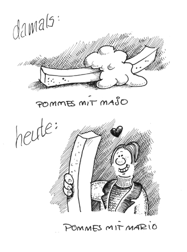 Cartoon: Nichts bleibt wie es war. (medium) by Jo Drathjer tagged hope,new,liebe,maja,mario,fries,french,frites,pommes,food,fast,fastfood