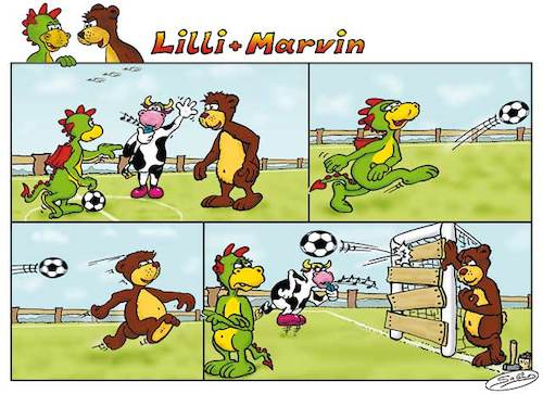 Cartoon: Lilli und Marvin - Fussball (medium) by salinos tagged lill,marvin,fussball