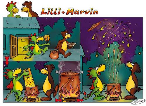 Cartoon: Lilli und Marvin - Sylvester (medium) by salinos tagged lill,marvin,sylvester,popcor,feuerwerk,bär,drache