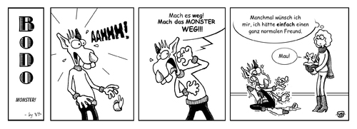 Cartoon: BODO - Monster! (medium) by volkertoons tagged volkertoons,cartoon,comic,strip,bodo,ratte,rat,katze,cat,angst,fear,phobie,phobia