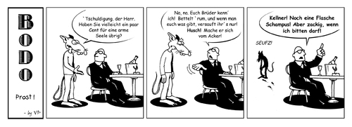 Cartoon: Bodo - Prost! (medium) by volkertoons tagged volkertoons,cartoon,comic,strip,bodo,ratte,rat,prost,cheers
