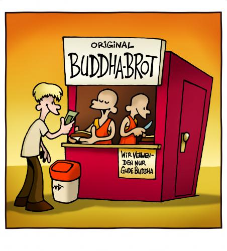 Cartoon: Buddhabrot (medium) by volkertoons tagged cartoons,volkertoons,buddha,brot