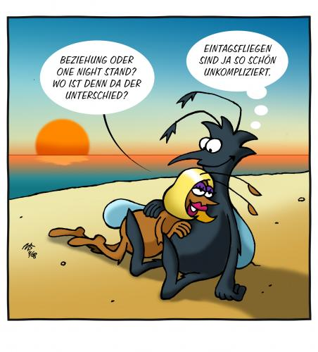 Cartoon: One Night Stand (medium) by volkertoons tagged volkertoons,cartoon,flies,fliegen,partnership,partnerschaft,beziehung,one,night,stand,idylle,insekten,insects,insekten,partnerschaft,beziehung,one night stand,beischlaf,geschlechtsverkehr,sex,liebe,fliege,tiere,romantik,mann,frau,weibchen,männchen,unterschied,idylle,eintagsfliege,lebenszeit,alter,zeit,zeitgefühl,one,night,stand