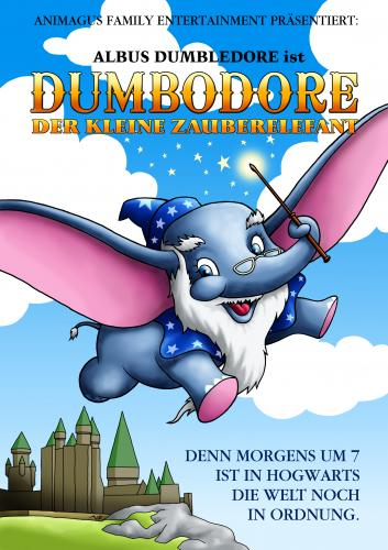 Cartoon: PotterFakePlakate - Dumbodore (medium) by volkertoons tagged volkertoons,cartoon,humor,lustig,funny,mad,film,movie,kino,harry,potter,dumbo,dumbledore,zauberer,wizard,magie,magic,magician,sorcerer,hogwarts,plakat,parodie,fake,dumbo,film,zeichentrick,elefant,kinder,parodie,literatur,harry potter,dumbledore,zauberer,magie,harry,potter