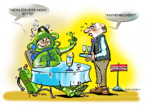 Cartoon: Aschenbecher...? (medium) by cartoonist_egon tagged satirics