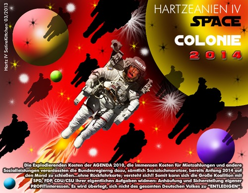 Cartoon: hartz IV Galactica (medium) by cartoonist_egon tagged hartz,iv,sgb,ii,sozialer,abbau