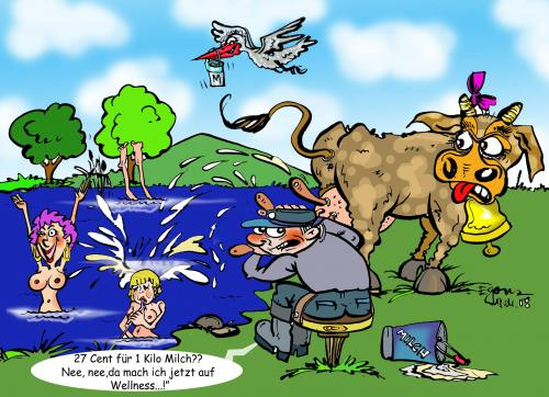 Cartoon: MilkPrices (medium) by cartoonist_egon tagged milk,preise,europa,bauern