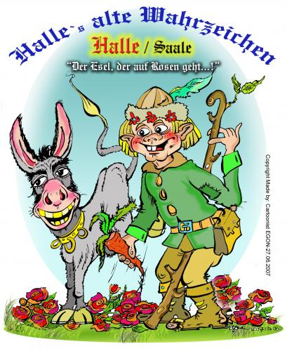 Cartoon: Postcard Halle (medium) by cartoonist_egon tagged fun,humor,satire
