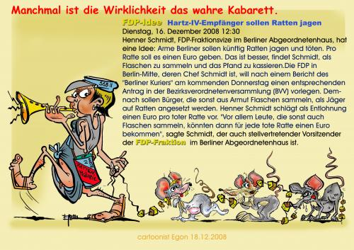 Cartoon: Rattenfänger 2009 (medium) by cartoonist_egon tagged soziales,politik,satire,hartz,iv