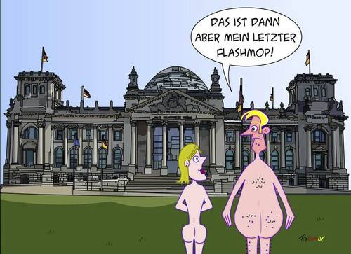 Cartoon: Flaschmob (medium) by Tricomix tagged flaschmob,berlin,reichstag,mutprobe,flitzer
