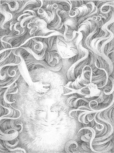 Cartoon: Die Friseuse (medium) by erikberndt tagged portrait,pencil,drawing,hair
