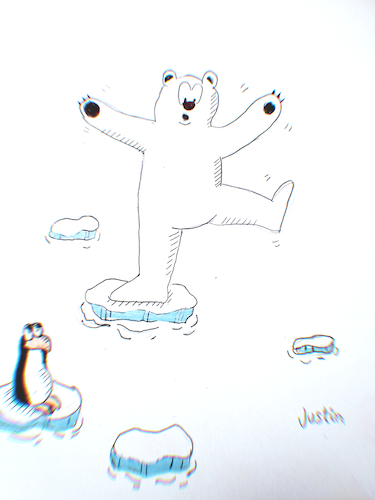 Cartoon: High temperature (medium) by claude292 tagged bear,polar,sea