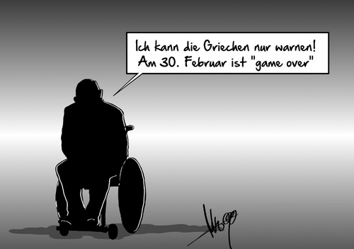 Cartoon: Game Over (medium) by Marcus Gottfried tagged griechenland,termin,schulden,grexit,schäuble,frist,warnung,euro,ezb,februar,game,over,chance,gelegenheit,gespräch,marcus,gottfried,cartoon,karikatur,griechenland,termin,schulden,grexit,schäuble,frist,warnung,euro,ezb,februar,game,over,chance,gelegenheit,gespräch,marcus,gottfried,cartoon,karikatur