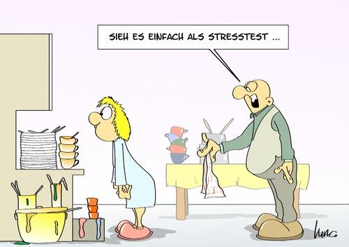 Stresstest von Marcus Gottfried  Medien & Kultur Cartoon  ~ Geschirr Spülen