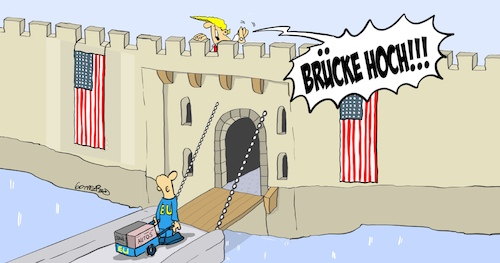 Cartoon: Zugbrücke (medium) by Marcus Gottfried tagged us,use,strafzoll,schutzzoll,automobilindustrie,autos,stahl,aluminium,trump,europa,markt,schütz,marcus,gottfried,cartoon,karikatur,us,use,strafzoll,schutzzoll,automobilindustrie,autos,stahl,aluminium,trump,europa,markt,schütz,marcus,gottfried,cartoon,karikatur