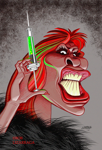 Cartoon: Tina Turner as The Acid Queen (medium) by Batfink tagged caricature,tommy,tina,turner,the,who,acid,hypodermic