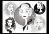 Cartoon: Golden Age Glamour Collage (small) by Nicoleta Ionescu tagged ava gardner catherine deneuve marlene dietrich veronica lake grace kelly golden age glamour hollywood movie act actress beauty