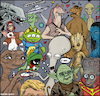 Cartoon: aliens (small) by matan_kohn tagged alien,movie,film,funny,et,avatar,alf,ufo,trump,groot,starwars,startrek,illustration,scatch,drawing,digitalart