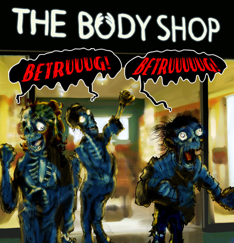 Cartoon: Betrug (medium) by Thomas Martin tagged halloween,body,shop,zombie,zombies
