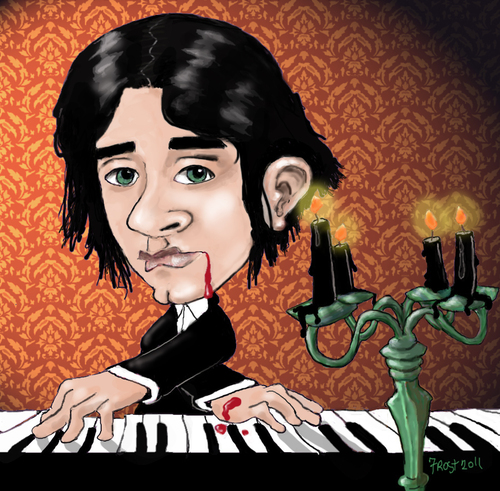 Cartoon: Gothic Piano Guy (medium) by frostyhut tagged piano,keyboard,candles,goth,gothic,blood,candelabra,music,classical