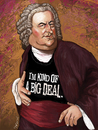 Cartoon: big deal (small) by frostyhut tagged bach,music,classical,wig,piano,keyboard,harpsichord,orchestra,composer