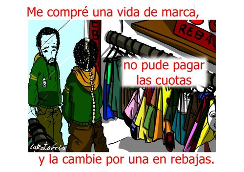 Cartoon: la marca de la vida (medium) by LaRataGris tagged la,marca,rebajas