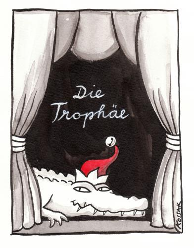 Cartoon: The Trophy (medium) by Kossak tagged trophäe,trophy,theater,theatre,krokodil,crocodile,kasperl,kasper,punch,bühne,stage,trophäe,krokodil,kasper,kasperl,bühne,theater,märchen