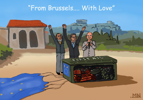 Cartoon: From Brussels... With Love (medium) by flintstone73 tagged brussels,greece,rettungspaket,care,package,dynamite,grenades