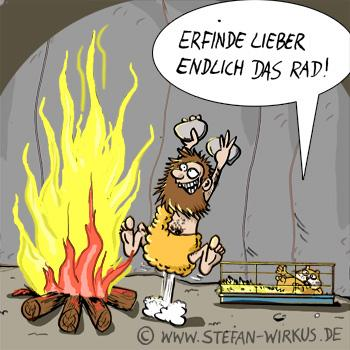 Cartoon: Radloser Hamster... (medium) by verwirkt_cartoons tagged erfindung,steinzeit,urmensch,hamster,feuer,idee,rad,idea
