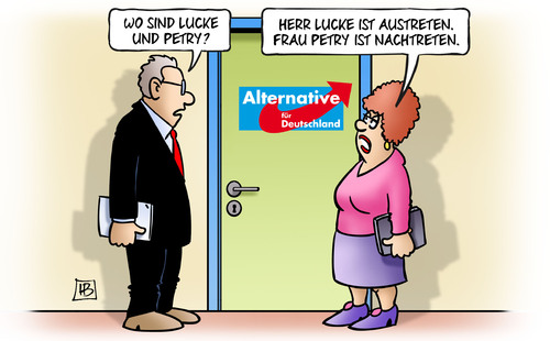 Cartoon: AfD-Nachtreten (medium) by Harm Bengen tagged afd,nachtreten,lucke,petry,austreten,partei,rechts,populisten,harm,bengen,cartoon,karikatur,afd,nachtreten,lucke,petry,austreten,partei,rechts,populisten,harm,bengen,cartoon,karikatur