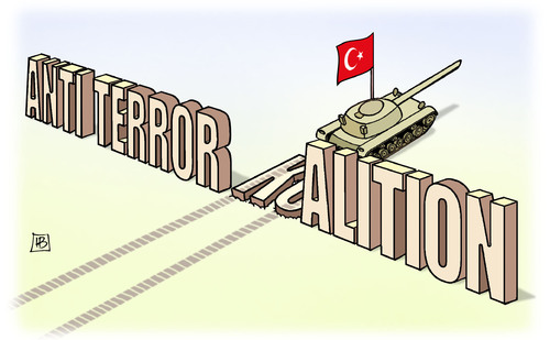 Cartoon: Anti-Terror-Koalition (medium) by Harm Bengen tagged anti,terror,koalition,syrien,irak,is,islamisten,bundeswehr,türkei,panzer,abschuss,kampfjet,russland,harm,bengen,cartoon,karikatur,anti,terror,koalition,syrien,irak,is,islamisten,bundeswehr,türkei,panzer,abschuss,kampfjet,russland,harm,bengen,cartoon,karikatur