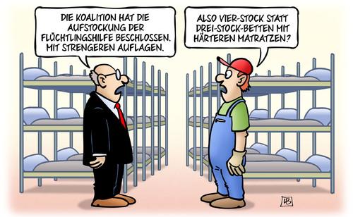Matratzen comic  Aufstockung und Auflagen von Harm Bengen | Politik Cartoon | TOONPOOL