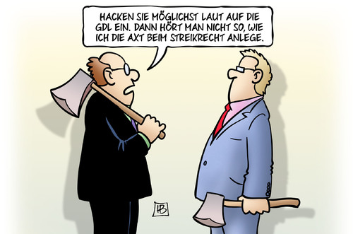 Cartoon: Axt anlegen (medium) by Harm Bengen tagged hacken,gdl,bahn,streik,lokführer,axt,streikrecht,tarifeinheit,tarifkonflikt,tarifvertrag,harm,bengen,cartoon,karikatur,hacken,gdl,bahn,streik,lokführer,axt,streikrecht,tarifeinheit,tarifkonflikt,tarifvertrag,harm,bengen,cartoon,karikatur