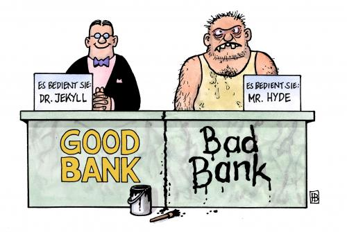 bad bank vs good bank von harm bengen wirtschaft cartoon toonpool. Black Bedroom Furniture Sets. Home Design Ideas