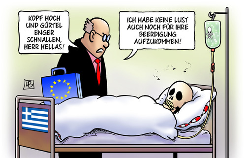 Cartoon: Beerdigung (medium) by Harm Bengen tagged kopf,gürtel,enger,schnallen,tod,tot,hellas,beerdigung,troika,institutionen,eu,ezb,iwf,griechenland,pleite,schulden,harm,bengen,cartoon,karikatur,kopf,gürtel,enger,schnallen,tod,tot,hellas,beerdigung,troika,institutionen,eu,ezb,iwf,griechenland,pleite,schulden,harm,bengen,cartoon,karikatur