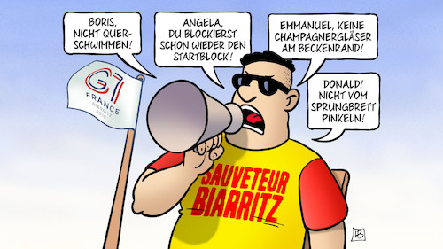 Cartoon: Biarritz-Bademeister (medium) by Harm Bengen tagged bademeister,boris,johnson,querschwimmen,angela,merkel,emmanuel,macron,champagnergläser,beckenrand,donald,trump,sprungbrett,pinkeln,g7,gipfel,biarritz,gb,uk,canada,kanada,japan,italien,frankreich,deutschland,usa,harm,bengen,cartoon,karikatur,bademeister,boris,johnson,querschwimmen,angela,merkel,emmanuel,macron,champagnergläser,beckenrand,donald,trump,sprungbrett,pinkeln,g7,gipfel,biarritz,gb,uk,canada,kanada,japan,italien,frankreich,deutschland,usa,harm,bengen,cartoon,karikatur