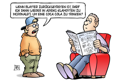 Cartoon: Blatter-Rücktritt (medium) by Harm Bengen tagged blatter,rücktritt,fifa,fussball,korruption,bestechung,adidas,klamotten,kleidung,sponsoren,mcdonalds,coca,cola,kind,vater,harm,bengen,cartoon,karikatur,blatter,rücktritt,fifa,fussball,korruption,bestechung,adidas,klamotten,kleidung,sponsoren,mcdonalds,coca,cola,kind,vater,harm,bengen,cartoon,karikatur