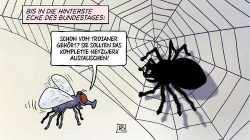 Cartoon: Bundestag-Netzwerk (medium) by Harm Bengen tagged bundestag,it,sicherheit,netzwerk,trojaner,austauschen,hardware,software,spionage,computer,internet,fleige,spinne,netz,harm,bengen,cartoon,karikatur,bundestag,it,sicherheit,netzwerk,trojaner,austauschen,hardware,software,spionage,computer,internet,fleige,spinne,netz,harm,bengen,cartoon,karikatur