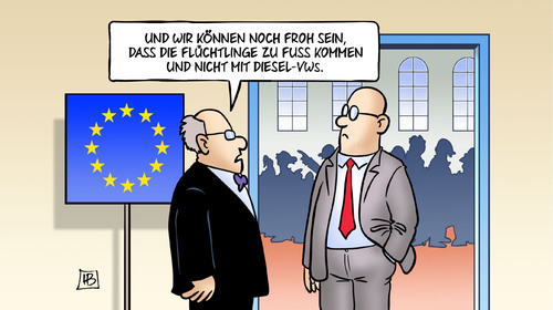 Cartoon: Diesel-Flüchtlinge (medium) by Harm Bengen tagged vw,winterkorn,konzernchef,aktie,börse,kurs,absturz,abgas,manipulation,betrug,dax,flüchtlinge,asyl,eu,europa,harm,bengen,cartoon,karikatur,vw,winterkorn,konzernchef,aktie,börse,kurs,absturz,abgas,manipulation,betrug,dax,flüchtlinge,asyl,eu,europa,harm,bengen,cartoon,karikatur