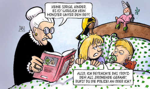 Cartoon: Drohende Gefahr (medium) by Harm Bengen tagged drohende,gefahr,kinder,oma,susemil,monster,bett,polizeiaufgabengesetz,bayern,harm,bengen,cartoon,karikatur,drohende,gefahr,kinder,oma,susemil,monster,bett,polizeiaufgabengesetz,bayern,harm,bengen,cartoon,karikatur