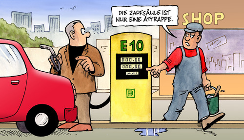 Cartoon: E10-Attrappe (medium) by Harm Bengen tagged e10,attrappe,tanken,tankstelle,tankwart,kunde,zapfsäule,benzin,benzingipfel,bio,weizen,mais,flop,adac,auto,autoindustrie,bundesregierung,röttgen,brüderle,e10,attrappe,tanken,tankwart,kunde,benzin,benzingipfel,bio,mais