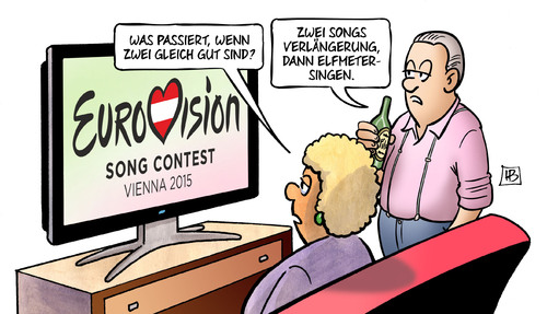 Cartoon: ESC 2015 (medium) by Harm Bengen tagged eurovision,song,contest,esc,2015,wien,songs,verlängerung,elfmetersingen,harm,bengen,cartoon,karikatur,eurovision,song,contest,esc,2015,wien,songs,verlängerung,elfmetersingen,harm,bengen,cartoon,karikatur