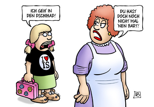 Cartoon: Frauen zum IS (medium) by Harm Bengen tagged dschihad,frauen,mädchen,jugendliche,kinder,is,isis,islamismus,ausreise,irak,syrien,mutter,bart,harm,bengen,cartoon,karikatur,dschihad,frauen,mädchen,jugendliche,kinder,is,isis,islamismus,ausreise,irak,syrien,mutter,bart,harm,bengen,cartoon,karikatur
