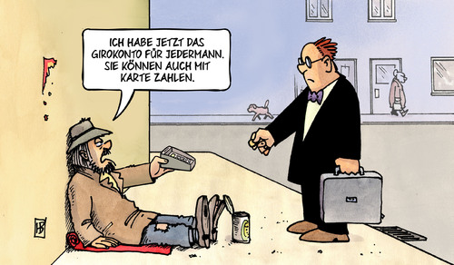 Cartoon: Girokonto für Jedermann (medium) by Harm Bengen tagged girokonto,basiskonto,jedermann,banken,bundestag,geld,bettler,kreditkarte,karte,obdachlos,asly,armut,harm,bengen,cartoon,karikatur,girokonto,basiskonto,jedermann,banken,bundestag,geld,bettler,kreditkarte,karte,obdachlos,asly,armut,harm,bengen,cartoon,karikatur