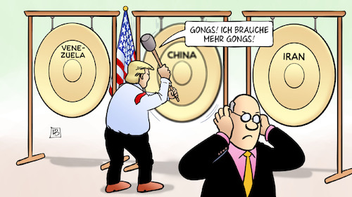 Cartoon: Gongs (medium) by Harm Bengen tagged gongs,trump,aussenpolitik,usa,venezuela,china,iran,harm,bengen,cartoon,karikatur,gongs,trump,aussenpolitik,usa,venezuela,china,iran,harm,bengen,cartoon,karikatur