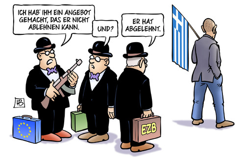 Cartoon: Griechenland-Angebot (medium) by Harm Bengen tagged angebot,ablehnen,ezb,iwf,troika,mafia,pate,drohung,eu,euro,europa,griechischer,finanzminister,varoufakis,griechenland,wahl,harm,bengen,cartoon,karikatur,angebot,ablehnen,ezb,iwf,troika,mafia,pate,drohung,eu,euro,europa,griechischer,finanzminister,varoufakis,griechenland,wahl,harm,bengen,cartoon,karikatur