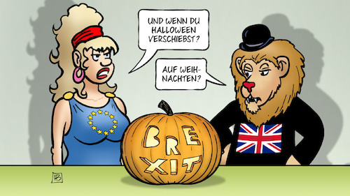 Cartoon: Halloween-Verschiebung (medium) by Harm Bengen tagged halloween,verschiebung,brexit,weihnachten,gb,uk,europa,eu,kürbis,johnson,löwe,harm,bengen,cartoon,karikatur,halloween,verschiebung,brexit,weihnachten,gb,uk,europa,eu,kürbis,johnson,löwe,harm,bengen,cartoon,karikatur