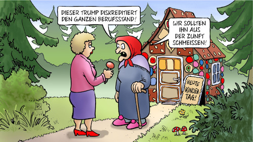 Cartoon: Hexen und Trump (medium) by Harm Bengen tagged diskreditiert,diskreditierung,interview,reporterin,berufsstand,zunft,hexe,wald,knusperhäuschen,skandal,whistleblower,demokraten,amtsenthebungsverfahren,impeachment,trump,ukraine,usa,harm,bengen,cartoon,karikatur,diskreditiert,diskreditierung,interview,reporterin,berufsstand,zunft,hexe,wald,knusperhäuschen,skandal,whistleblower,demokraten,amtsenthebungsverfahren,impeachment,trump,ukraine,usa,harm,bengen,cartoon,karikatur