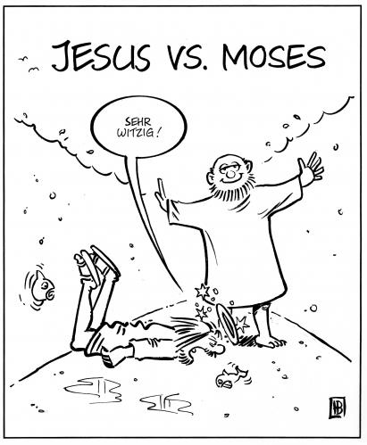 Cartoon: Jesus vs. Moses (medium) by Harm Bengen tagged jesus,moses,rotes,meer,see,teilen,wasser,laufen,sturz,religion,bibel,altes,neues,testament